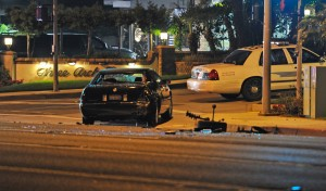 Looking northeast across Coast Highway at the intersection of Vista Del Sol. This is one of three cars involved in the mishap at Three Arch Bay.