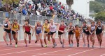 Sophomore Olivia Clark (#9) breaks off the line at the start of the fourth annual Hulst Memorial 3200.