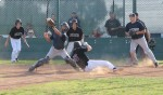 Senior Blake Hester slides in ahead of the throw to score in Laguna's 6-3 league win over Calvary Chapel.