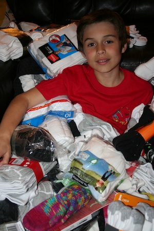 Jack Reed and his sock haul.