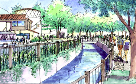 A rendering of the proposed village entrance park. Courtesy of Elizabeth Pearson