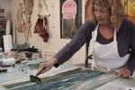 Sheryl Seltzer at work in her studio and one of her images.