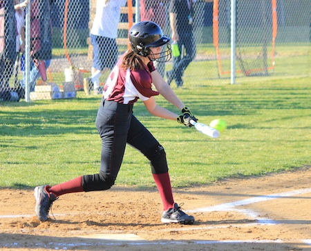 Junior Veronica Clancey connects for a hit in Laguna's season and home opening win against Capistrano Valley Christian at the Breaker's Thurston Middle School field.