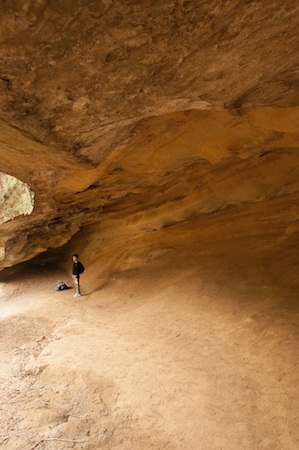 Outlaw Caves:  Once a hide-out for cattle thieves, the wind-sculpted walls and ceiling of Robbers' Cave are blackened from long-gone (and now outlawed) campfires.