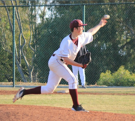 Senior pitcher Kurt Rebone delivers a pitch during his complete game victory over Troy of Fullerton in the Breakers third round game of the Newport Elks Tournament at Skipper Carrillo Field.