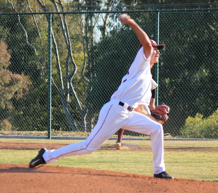 Senior pitcher Jackson Rees pitched five innings and recorded six Ks without yielding an earned run in Laguna's 11-2 win over Jurupa.