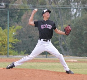 Senior Jackson Rees throws four scoreless innings to pick up his third win in as many starts last Friday, March 15. The Breakers won their league-opener 13-0 against Saddleback.
