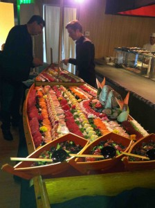 A dazzling sushi boat anchored Katsuya's opening night party.