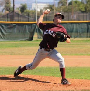 Grant Wilhelm is action against Saddleback this past Tuesday. The defending OCL Pitcher of the Year struck out 9 in 4-innings of work as Laguna routed the Roadrunners 25-1 for their 14th straight victory.