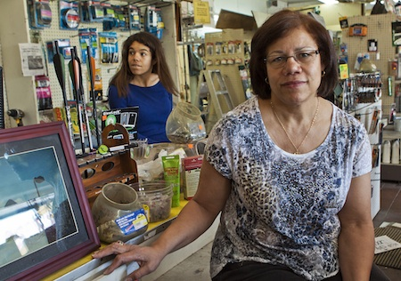 Widow Jennifer Piper and daughter Dana, oversee the closing sale of Laguna Auto Parts.