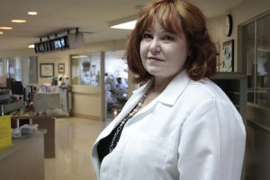 Nurse manager Nadine Dietrich in one of Laguna's underused ICU rooms.