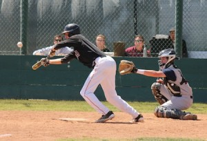 Junior Preston GrandPre lays down a perfect bunt in the sixth inning of the Breakers win over Capistrano Valley Christian.