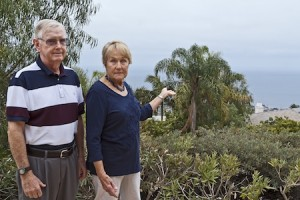 Jim and Mimi Healey of Bounty Way volunteered their diminishing ocean view as an example to the city committee drafting a new view ordinance. Photo by Mitch Ridder
