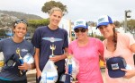 Champions Lynne Galli and Lisa Ruthledge, right; with runners up Geena Urango and Sarah Pavan