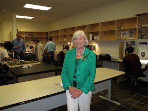 Photo by Jim Collins Newly opened senior studios bear the name of college supporter Suzanne Chonette, who, along with other board members, got their first look inside last Saturday.