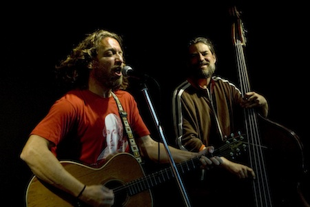 "Jason Feddy, left; performing in ""Shakespeare's Fool"" in 2011."