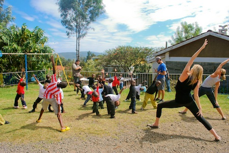 Laguna Beach's Lindsey Pluimer works out with orphans in Kenya.