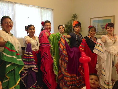 Falda Folklorica dancers, from left; Maribel Van Horn, Margarita Hierro, Ruby Abarca, Priscila Carillo, Anel Anaya, Elvia Barranco and Teresa Dominguez.