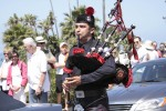 Firefighter-bagpiper David Lopez entertains at the pancake breakfast.