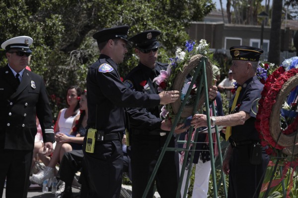 Firefighters with their memorial wreath.