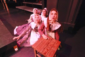 "Marlena Becker, right; with Molly McMillen, Shelby Clark and Eliana Alcouloumre, counterclockwise; in ""The Crucible,"" opening this week. Photo by Roark Gourley"