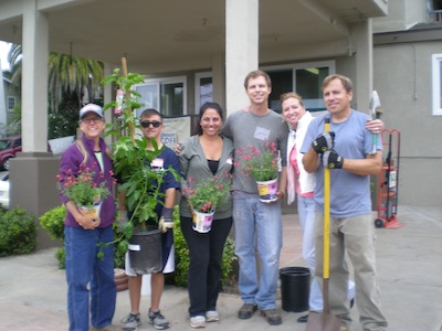 Garden helpers, from left, Gloria Broming, Sean McElwee, Tammy Keces, Christian Mache, Mary Kate Saunders and Larry Casner.