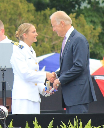 Breanna Hite congratulated by Vice President Joe Biden.