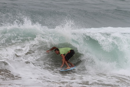 Local Teddy Vlassis competing in last year's Vic skimboarding competition at Aliso Beach, returning to the same sands this weekend.