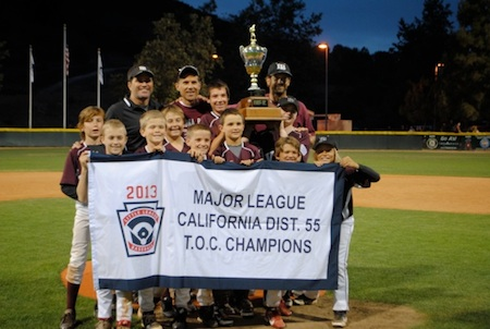 Minor league Little League team CBA celebrating their victory.