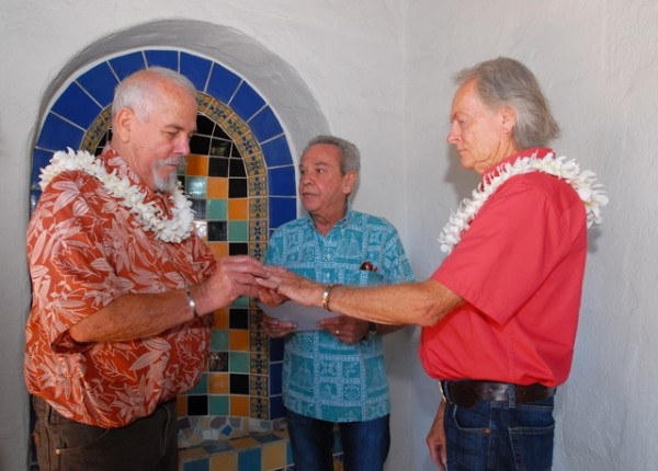 The same-sex wedding ceremony was the first officiated by Mayor Kelly Boyd. Photo by Adrienne Helitzer