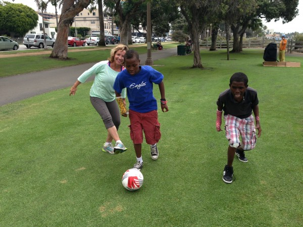 Marla Hodes took time this week to pass a ball to Kidane and Zelalem at a park in Santa Monica prior to the boys' doctor appointment.