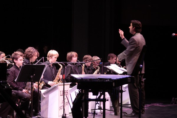 Roger Shew leading the LBHS jazz orchestra.