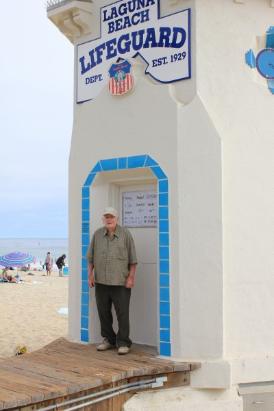 Longtime resident Art Sherman recalls seeing the tower moved from a gas station across the highway to its present location, a Main Beach icon. Photo by Robert Campbell.