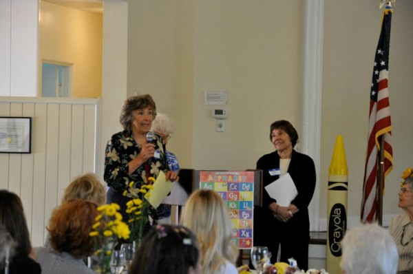 Educator Elsa Brizzi, left, at a Woman's Club event with member  Peggie Thomas.