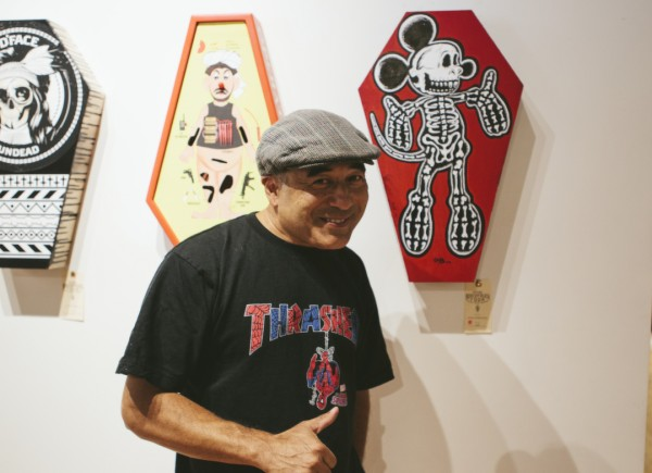 Artist Steve Caballero at Electric Coffin's exhibition in San Francisco.