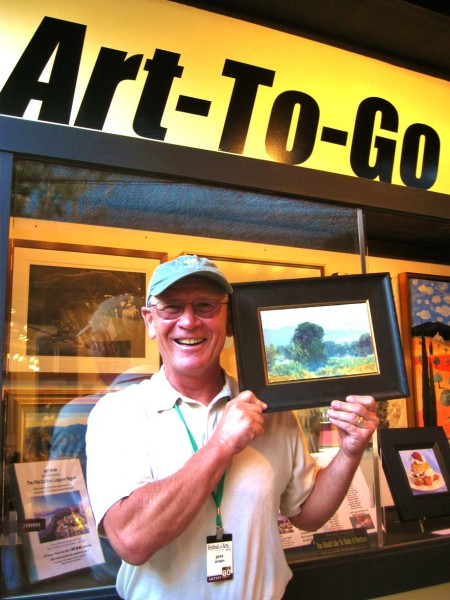 Artist Jeff Horn with his contribution to the Artists Fund.