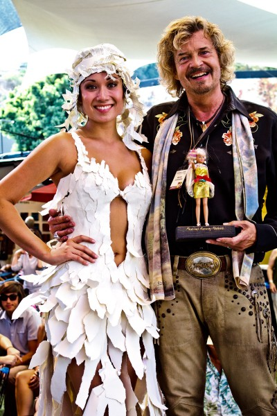 Brad Elsberry, right, with a model in one of his designs.