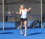Laguna's top singles player Kira Hamilton hits a return during a match against Irvine's Northwood on Tuesday, Sept. 10. The Division 2 Breakers couldn't keep pace with the Division 1 power, losing 6-12. Hamilton went 1-2 in her three matches.