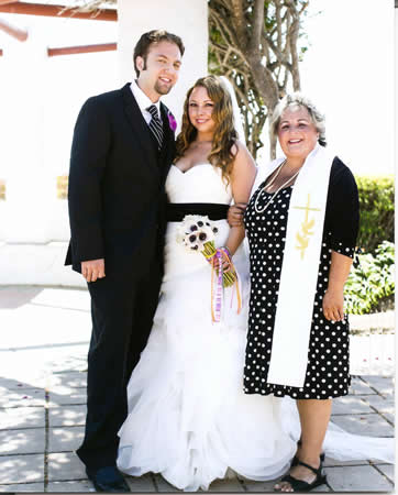 Rebecca Apodaca, right, performed a wedding for a store patron Carras Paton and his bride, Dina Hughes.