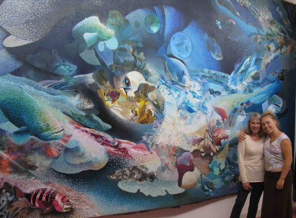 """Robert Young's widow Deborah and daughter Charlotte alongside his masterpiece, """"The Big One."""""""