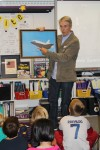 David Dartez explains how the space shuttle Endeavor flies while visiting El Morro Elementary last week.