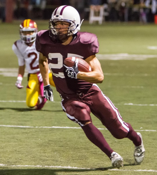 Nathan Lancaster runs for Laguna's second touchdown.  Lancaster scored four touchdowns against Estancia to pass Chris Paul (2008-11) as the number two scorer in Laguna football history. Only Drake Martinez has scored more.