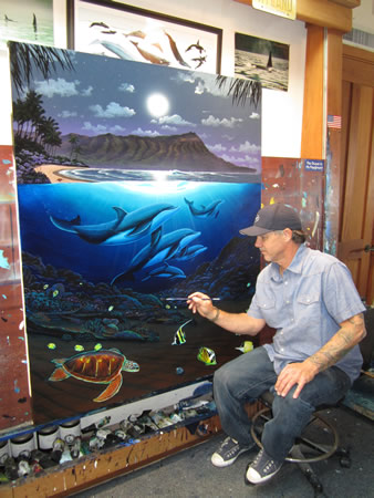 Wyland with one of his finished works.