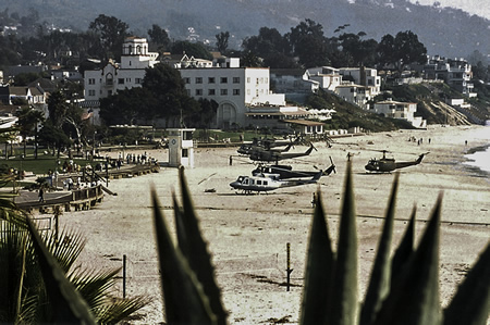Army National Guard helicopters lined Main Beach in the wake of the firefight. Photo by Mitch Ridder