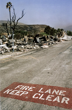 Forty-four mobile homes in the former mobile home park in Crystal Cove State Park burned in the '93 blaze. Photo by Mitch Ridder