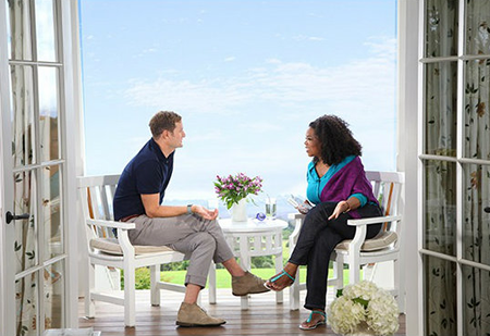 Local Rob Bell interviewed by Oprah Winfrey. Photo courtesy of OWN.