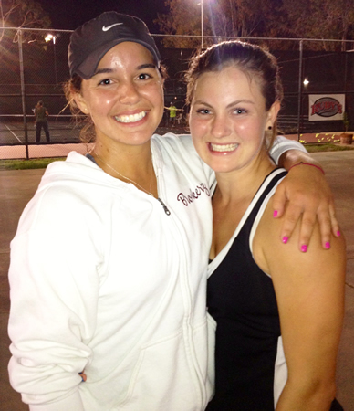 Shown here at last year's CIF quarter-finals, Brooke Michaels, left, and Bailey Jaeger, both sidelined by injuries. Photo courtesy Laguna Beach Tennis.