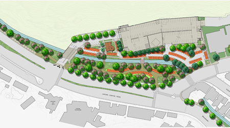 Another schematic shows landscaping of the present parking lot and booths for the farmers market.