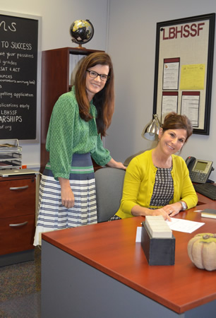 From left, guidance specialist Dawn Hunnicutt and LBHS Scholarship Foundation clerk Lynn Gregory.
