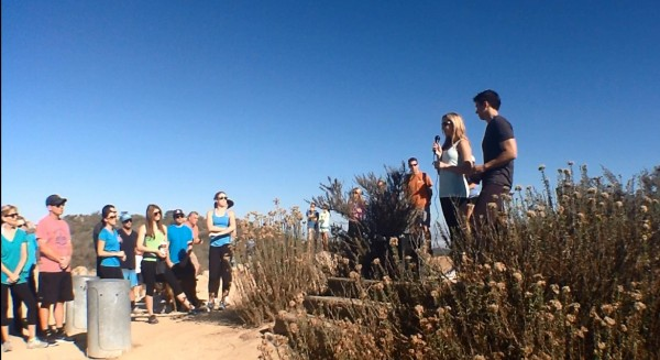 """Hike for the Cure"" participants gathered at Top of the World to support ovarian cancer research."
